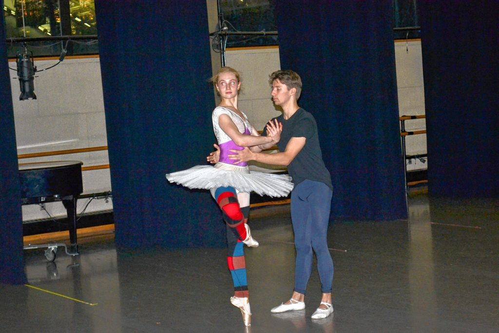 Lucas Gomez-Doyle and Phoebe Lummis, who plays the role of Sugar Plum Fairy, practice their dance during a rehearsal last week for the St. Paul's School Ballet Company's performances of The Nutcracker Act II. TIM GOODWIN / Insider staff