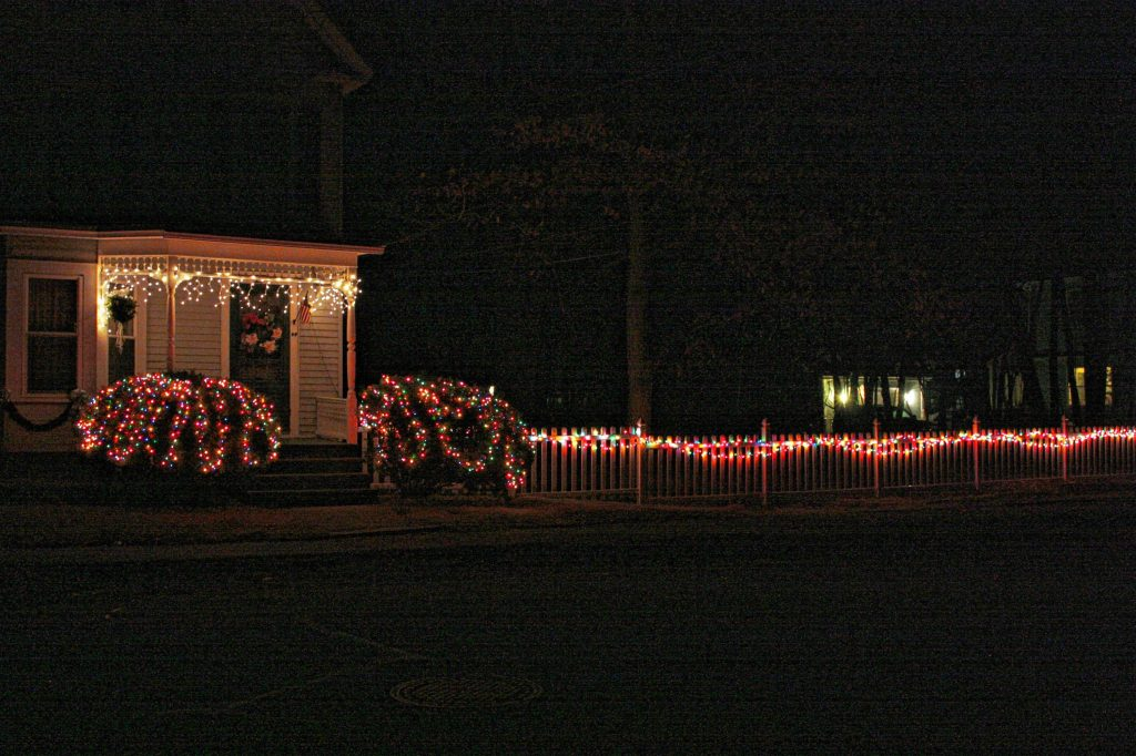 There's nothing extravagant about this display on Carter Street, but it is eye-catching because of the long horizontal strip of lights running the length of the fence to the side of the house. JON BODELL / Insider staff