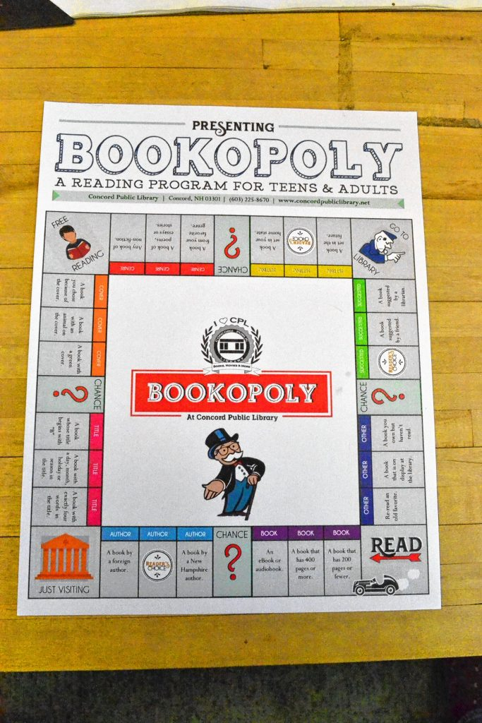 The official game board for the Concord Public Library's Bookopoly. TIM GOODWIN / Insider staff