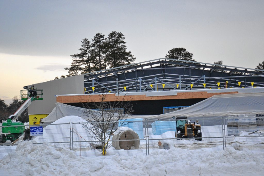 Despite a little cold weather work continues on the new city community center on the Heights, which is scheduled to open in June, just in time for summer. TIM GOODWIN / Insider staff