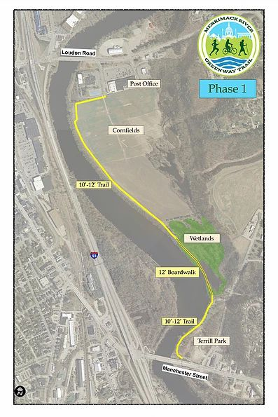 The first phase of the Merrimack River Greenway Trail sought to connect Loudon Road and Manchester Street, chiefly through a quarter-mile-long boardwalk over wetlands.  Friends of the Merrimack River Greenway Trail