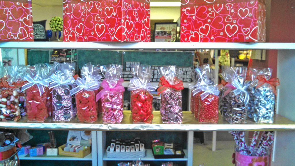 Caring Gifts on North Main Street has all the Valentine's Day staple candies, such as red and pink jelly beans and heart-shaped chocolate, but they also have some more grown-up treats such as chocolate body paint. JON BODELL / Insider staff