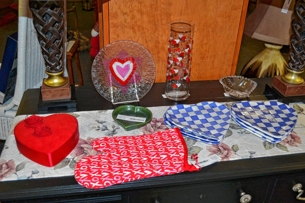 Hilltop Consignment Gallery had all kinds of great Valentine's Day gifts for that special someone, including an XO oven mit, heart vase and heart plates. TIM GOODWIN / Insider staff