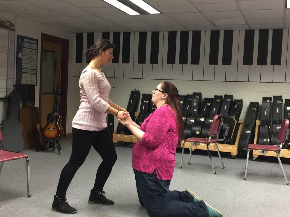Alina Abraham (left) and Cassandra Miller work through a scenario during a Laughta in New Hampsha improv class. The duo will be on the Hatbox Theatre stage with six others this Friday. Courtesy