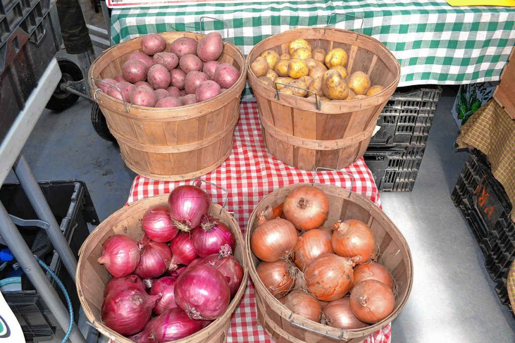 Potatoes and onions from the Vegetable Ranch. TIM GOODWIN / Insider staff