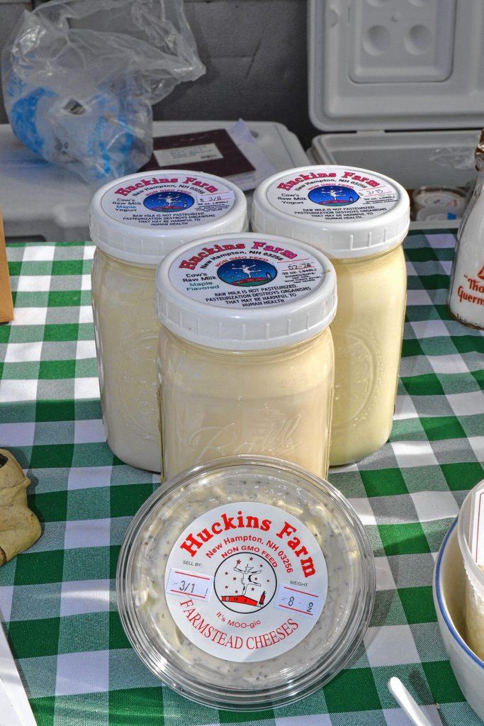 Raw milk, yogurt and yo-cheese from Huckins Farm. TIM GOODWIN / Insider staff