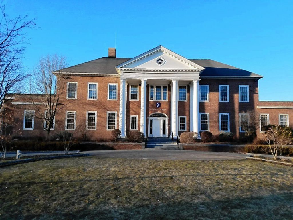 With its brick facade and noble, white pillars, UNH School of Law definitely looks like a serious higher learning institution. JON BODELL / Insider staff