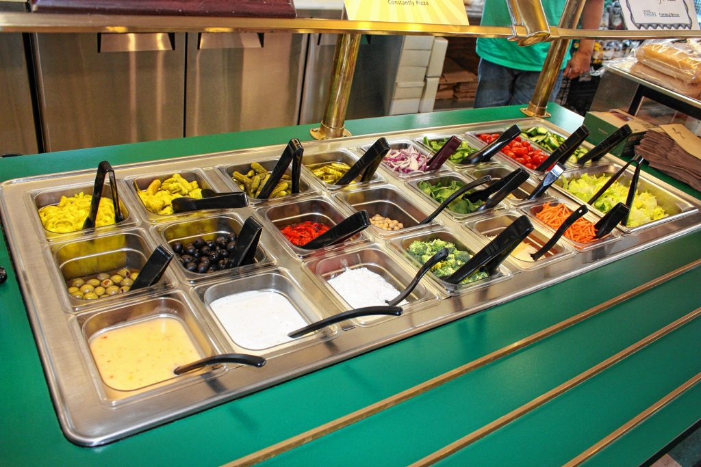 The downtown location of Constantly Pizza offers a salad bar and a big case of pastries, cookies and brownies, two features the Penacook location doesn't have. JON BODELL / Insider staff