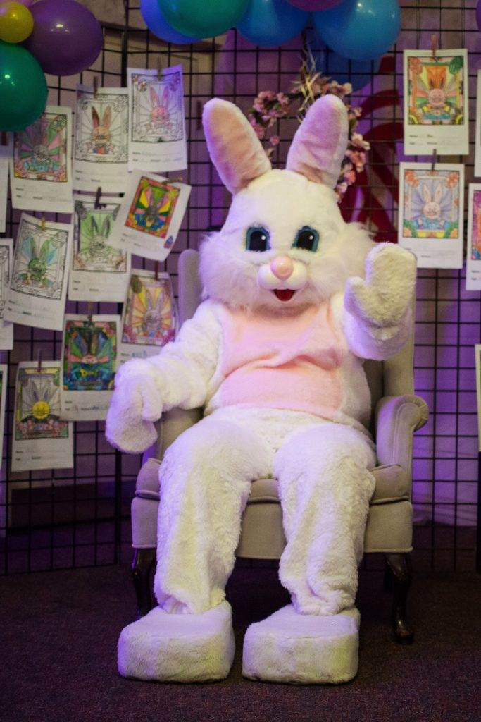 The Easter bunny waves to visitors during Eggstravaganza at the Bektash Shrine Center in Concord on Friday, April 7, 2017. The event continues on Saturday and Sunday. (ELIZABETH FRANTZ / Monitor staff) Elizabeth Frantz