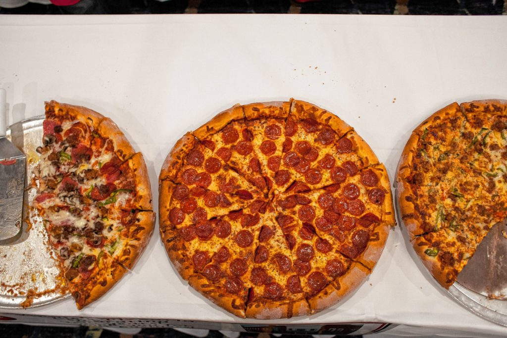 A Vinnie' s Pizzaria pepperoni pie is seen during the Pizza Pie Showdown at the Holiday Inn in downtown Concord on Pi Day, Mar. 14, 2018. Proceeds from the event, hosted by the Concord Monitor and Insider, went to support the Friendly Kitchen. (ELIZABETH FRANTZ / Monitor staff) Elizabeth Frantz