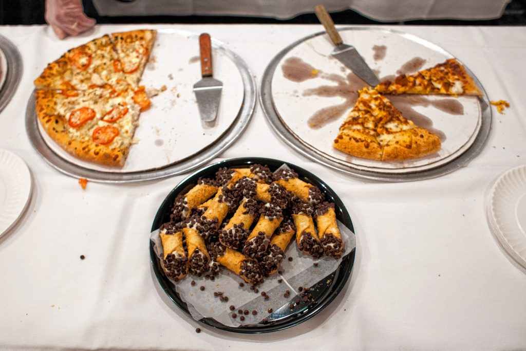 Constantly Pizza serves slices during the Pizza Pie Showdown at the Holiday Inn in downtown Concord on Pi Day, Mar. 14, 2018. Proceeds from the event, hosted by the Concord Monitor and Insider, went to support the Friendly Kitchen. (ELIZABETH FRANTZ / Monitor staff) Elizabeth Frantz