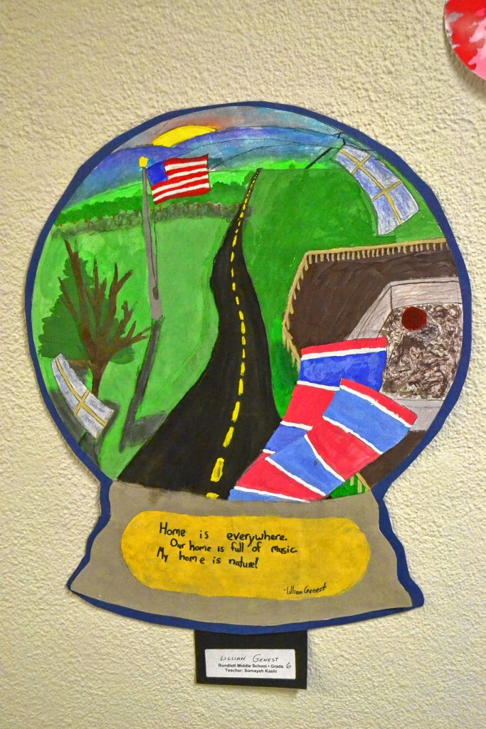 The tunnel walkway between the State House and Legislative Office Building has a collection of work for the Arts Education in New Hampshire Exhibit. TIM GOODWIN / Insider staff