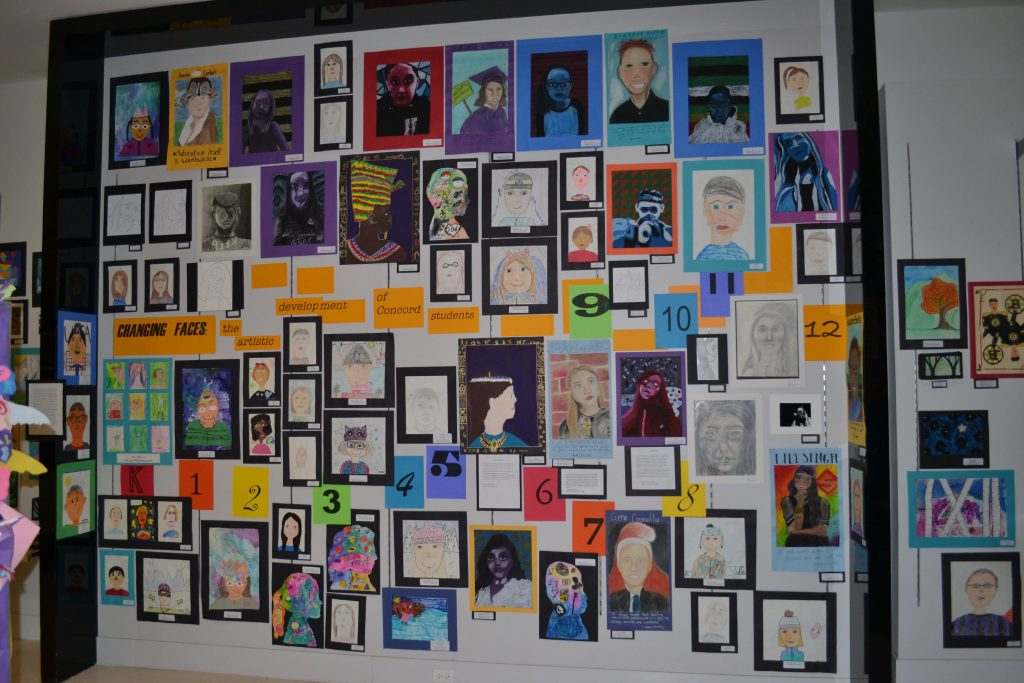 New to the Concord School District Youth Art Month show is a portrait display called Changing Faces: The artistic development of Concord students. Tim Goodwin