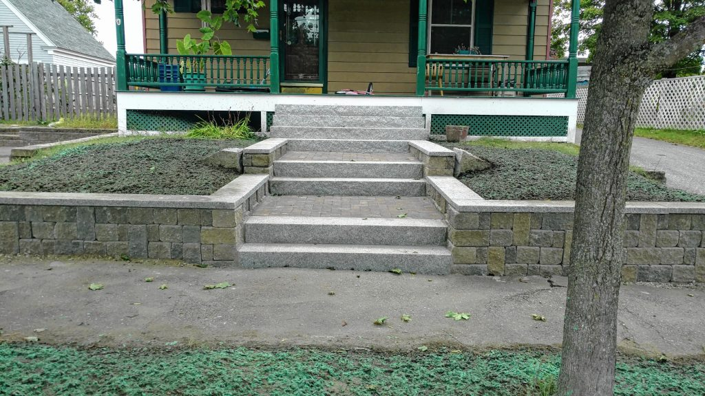 Brochu Nurseries & Landscaping is big on hardscapes, including full stone staircases and retaining walls. Courtesy of Brochu Nurseries & Landscaping