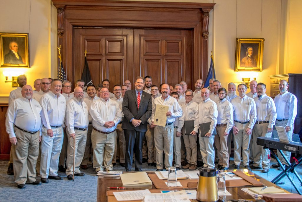 The N.H. Gay Men's Chorus received a commendation from Gov. Chris Sununu in March prior to the start of the group's 20th anniversary spring concert series. Courtesy