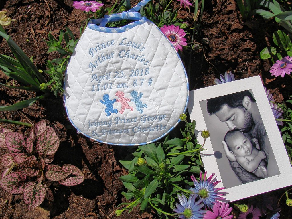 Janet Ulbrich made a keepsake bib for the new Royal baby, Prince Louis Arthur Charles, and sent it last week to Kensington Palace. Courtesy