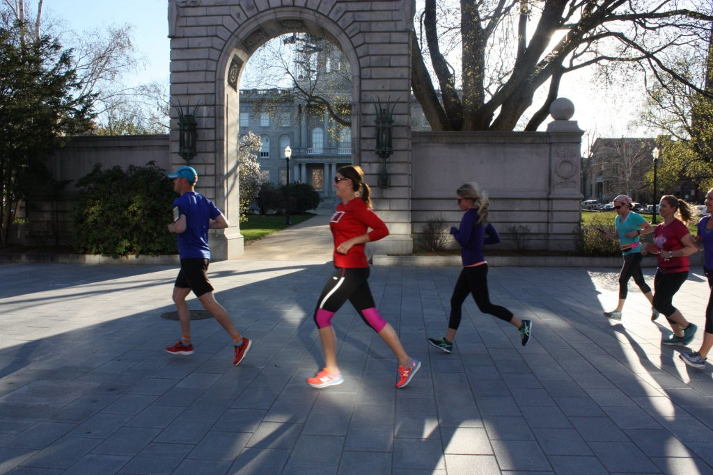 If you start a runner's training program, you can look like this group – a SIX03 Endurance Pub Run group, photographed in front of the State House in 2016 – in no time. It might be a little late to start training for this year's Rock 'N Race, but there are tons of races until next year's.