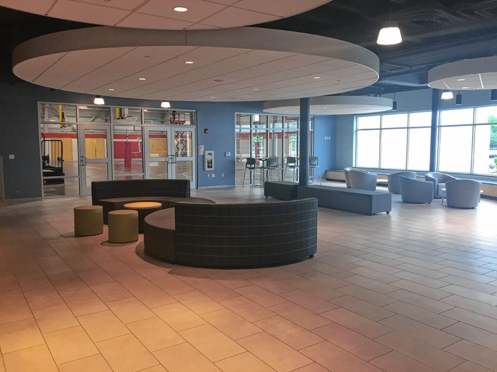 Check out the brand-spankin' new lobby and gymnasium at the new community center on Canterbury Road. The building will open to the public Monday. Courtesy of Concord Parks and Recreation