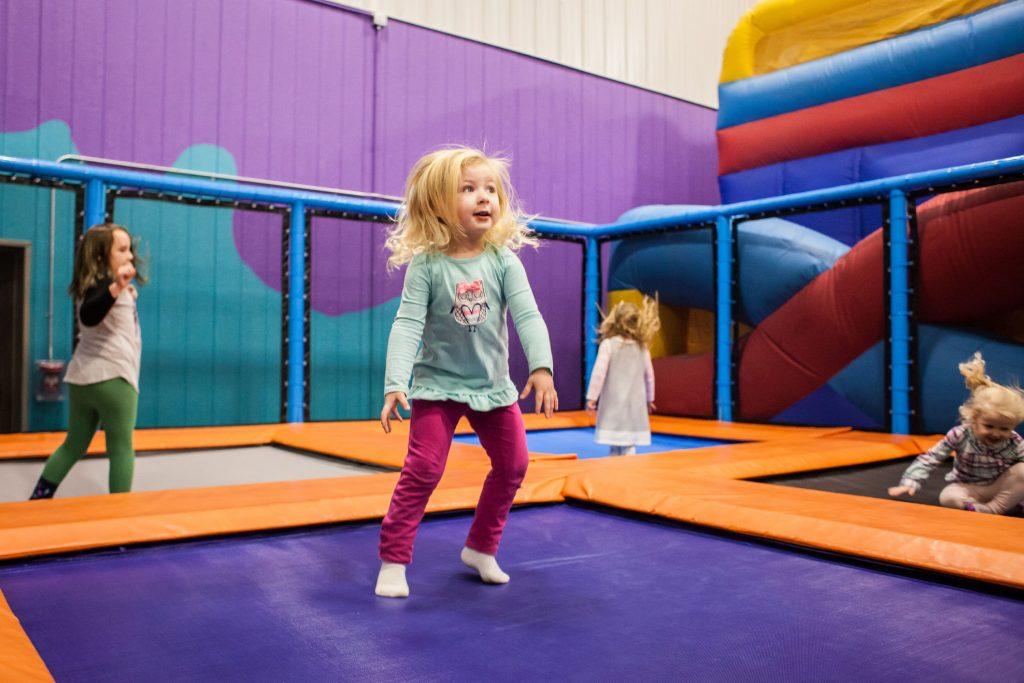 Lilah Harvey (center), 3, of Concord jumps on the trampoline at Krazy Kids Indoor Play & Party Center in Pembroke on Friday, Dec. 29, 2017. (ELIZABETH FRANTZ / Monitor staff) Elizabeth Frantz