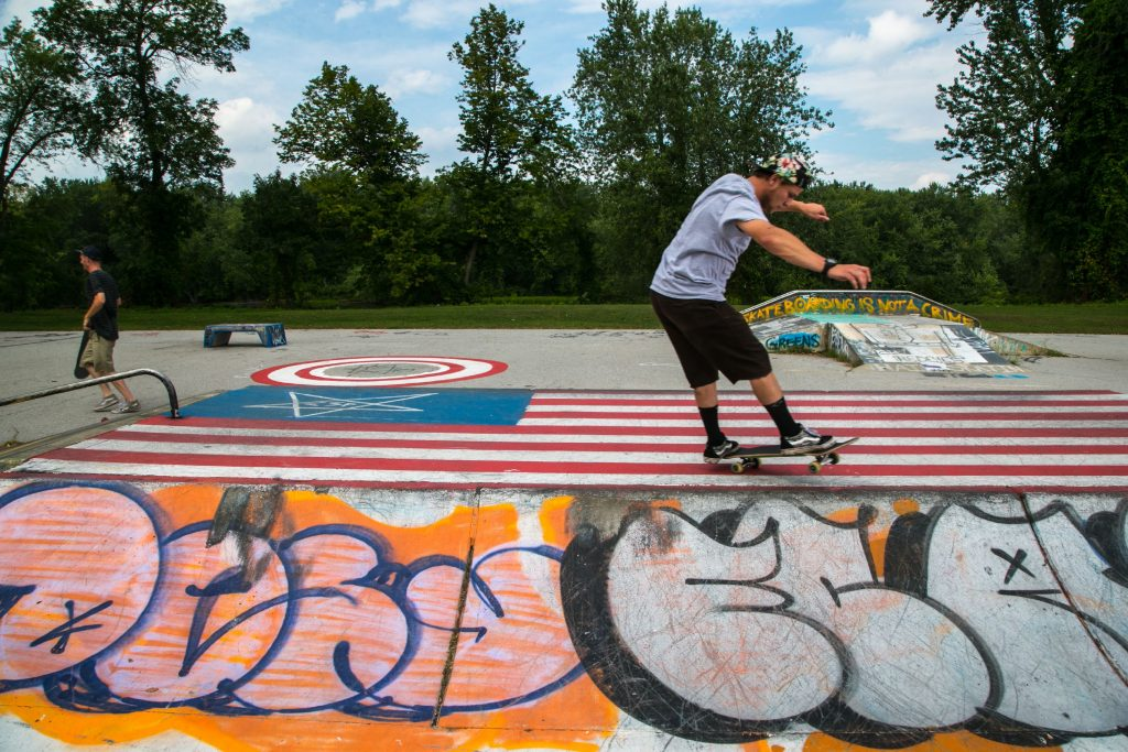 Tyler Castrogiovanni practices a jump at the Concord Skateboarding Park on Loudon Road last September.  GEOFF FORESTER