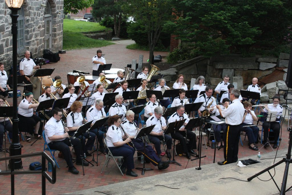 The Nevers Second Regiment Band plays its first summer show of the year at Eagle Square last week. Check out the band at any of the nine remaining shows in Concord/Penacook this summer. JON BODELL / Insider staff