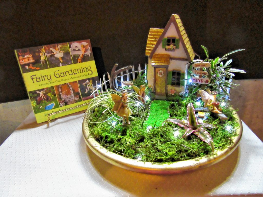 Joyce Kimball created this fairy garden for a book at her house – about fairy garden building. Courtesy of Joyce Kimball
