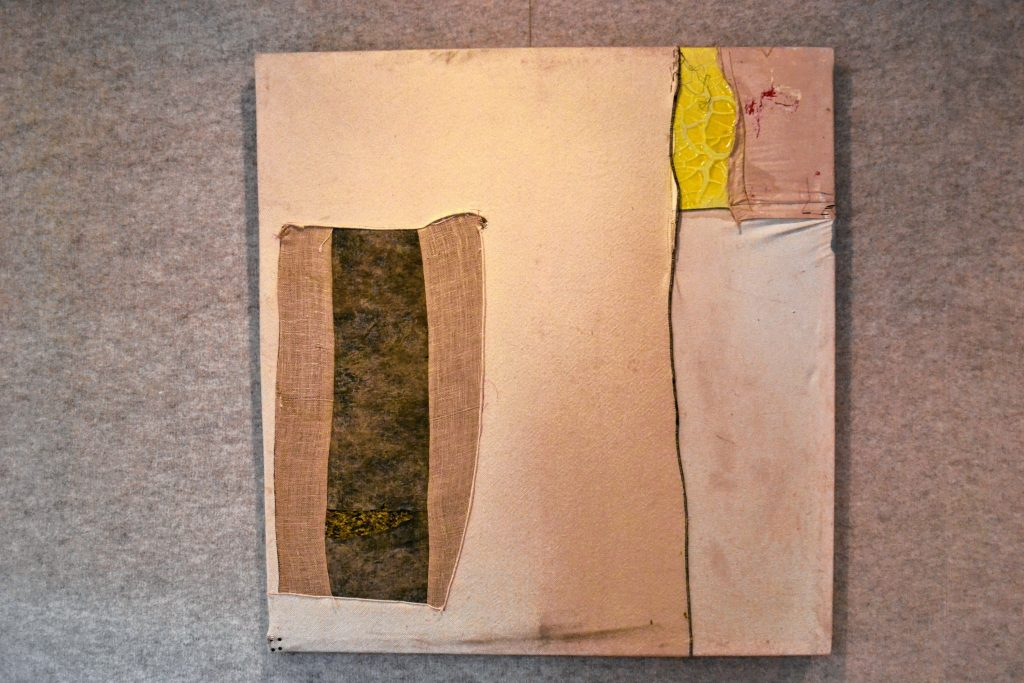 Adam Viens is showing his mixed media art in the NHTI library through July 31. TIM GOODWIN / Insider staff