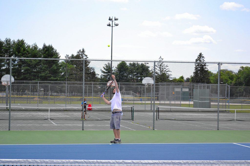 With the tennis courts at Memorial Field getting a facelift this year, Tim and Jon decided to play a friendly match. Jon Bodell / Insider staff