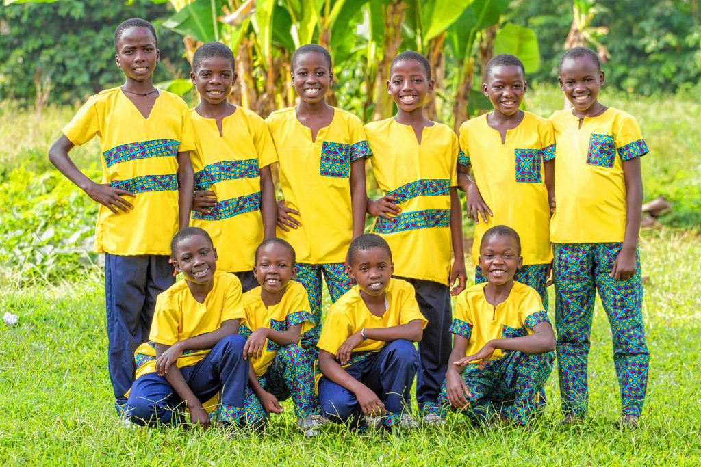 The Ugandan Kids Choir will put on a free public performance at the McAuliffe-Shepard Discovery Center on Saturday at 3:30 p.m. Courtesy