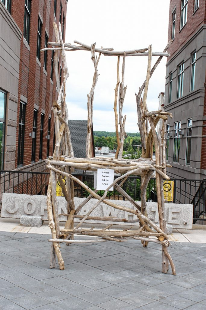 This huge chair made out of what appears to be beach wood was made by League of New Hampshire Craftsmen artist Mark Ragonese. The piece is on display in front of the Smile Building on South Main Street. You can look at and take pictures of it, but just don't sit on it -- you don't want to be the one to break this work of art. JON BODELL / Insider staff