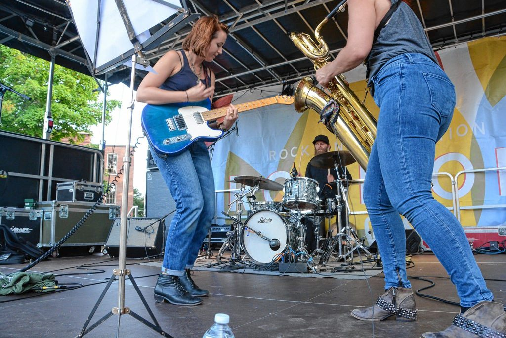 Holly Miranda jams on stage at the 2017 Rock On Fest in downtown Concord. The 2018 festival figures to be even bigger and better than last year's. Jeff Topping / Courtesy of Rock On Foundation