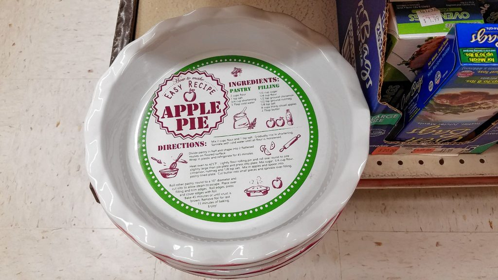 This handy-dandy pie plate comes with ingredients and instructions for making an apple pie right on the bottom of it. That's not a sticker -- the recipe is printed right on the pie plate, so you'll never lose it. This is actually pretty cool. JON BODELL / Insider staff