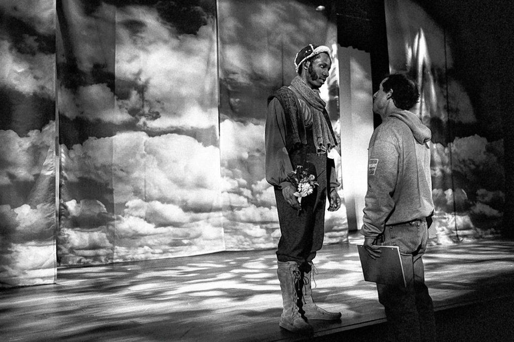 Actor, director and stage instructor Michael Cobb (right) coaches an MFA student on some Shakespeare at the National Theatre Conservatory.  Eric Laurits / Courtesy of Michael Cobb