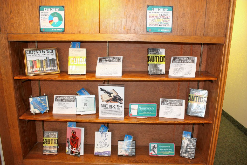 Concord Public Library's display for Banned Books Week, featuring several of the most challenged books of the year, along with a bit of information on why they were challenged. JON BODELL / Insider staff