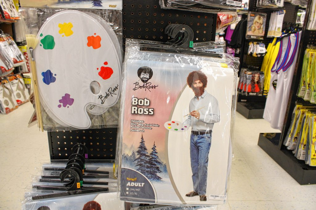 Perhaps the best throwback/obscure reference costume in stock at Spirit Halloween was this Bob Ross kit. You can get the outfit and wig in one package and the essential palette accessory separately.  JON BODELL / Insider staff