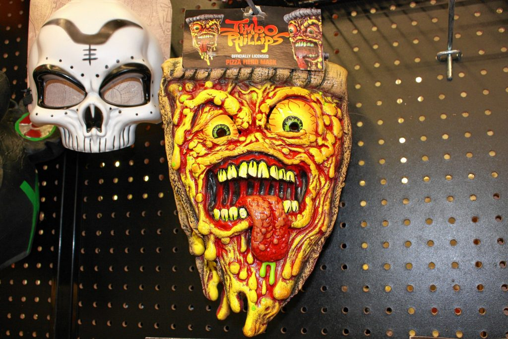 If you're looking to stand out from the costumed crowd this Halloween, consider going with the rare scary pizza mask. It's pretty unlikely that you'll see another scary pizza while out trick-or-treating or bobbing for apples at the family Halloween party. JON BODELL / Insider staff