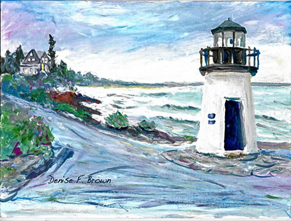 Denise Brown, author, illustrator and painter, will be holding a demo at the Seacoast Artist Association Gallery on watercolor painting, with lighthouses as a focus, during N.H. Open Doors. Courtesy of Seacoast Artist Association