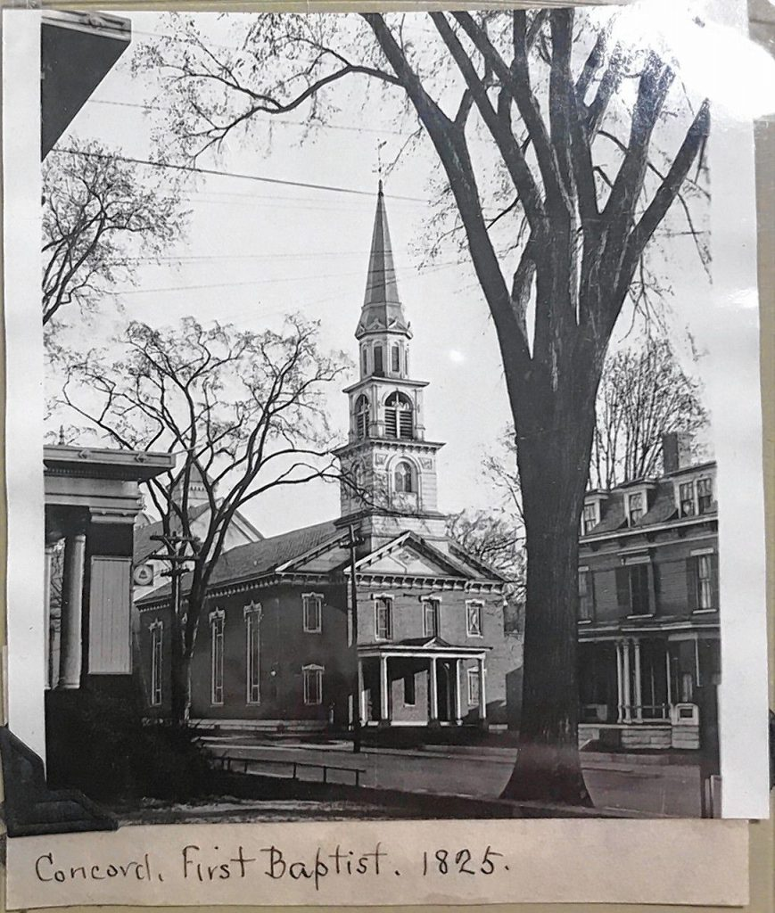 Concord's First Baptist Church -- now Centerpoint Church -- in 1825. Courtesy of Fabio Paiva