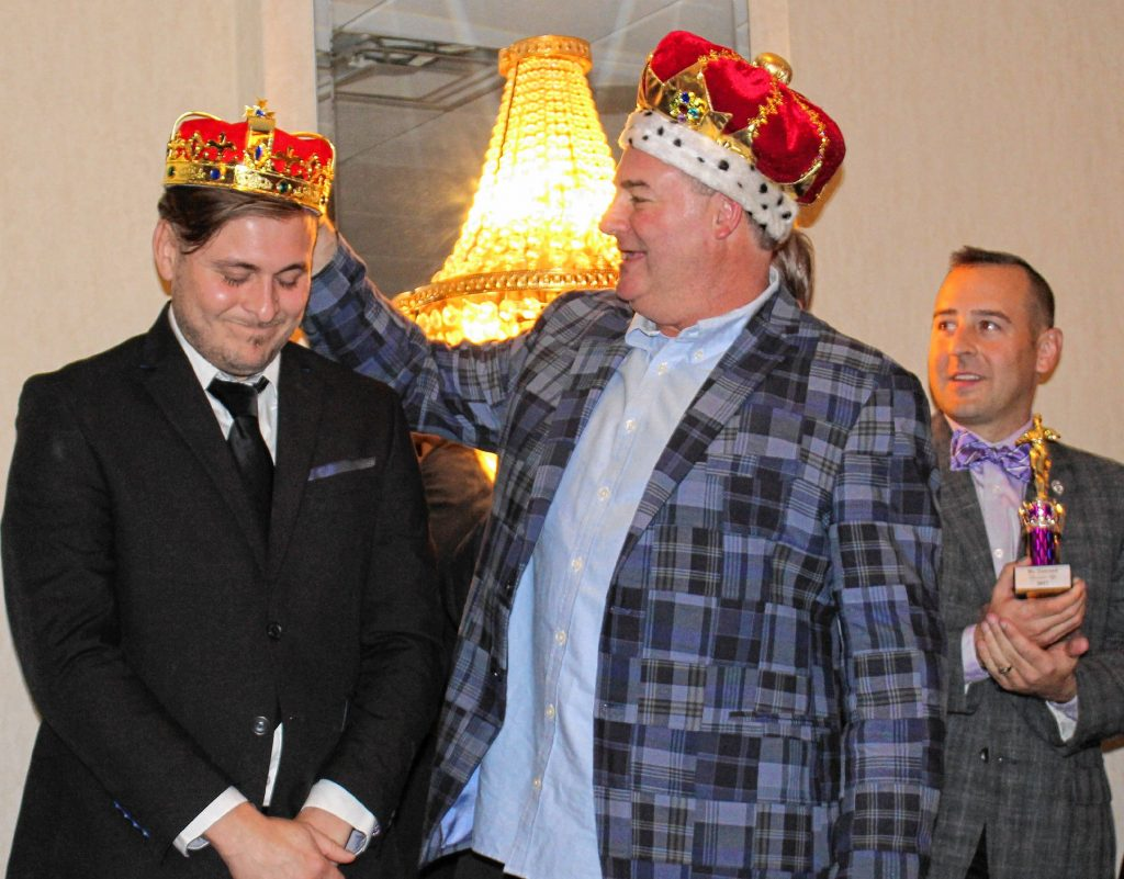 John Cimikoski, Mr. Concord of 2016, crowns last year's winner, Brian Waldron, at the 2017 Mr. Concord Pageant . This year's pageant will be held Nov. 30 at the Grappone Conference Center.  Courtesy of Concord Contemporary Club