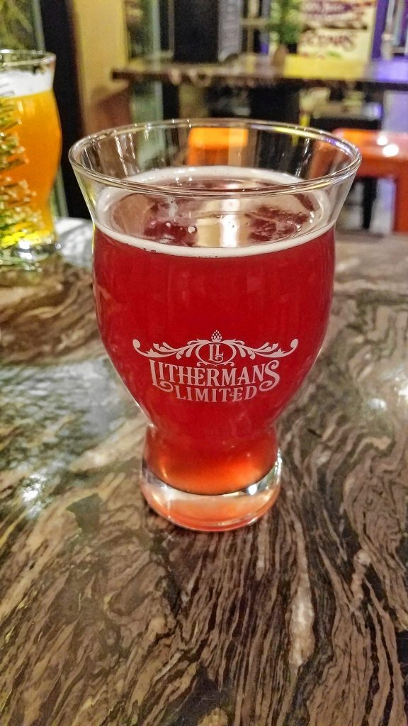 A glass of Lithermans Limited Cherry Bomb, a sour Berliner Weiss made with organic cherries.  JON BODELL / Insider staff