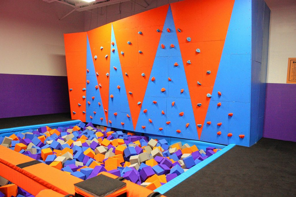 Altitude Trampoline Park at Steeplegate Mall has all the attractions you'd expect at a trampoline park -- mainly, trampolines. There are also foam pits, a rock wall, a dodgeball court, basketball hoops and more. JON BODELL / Insider staff