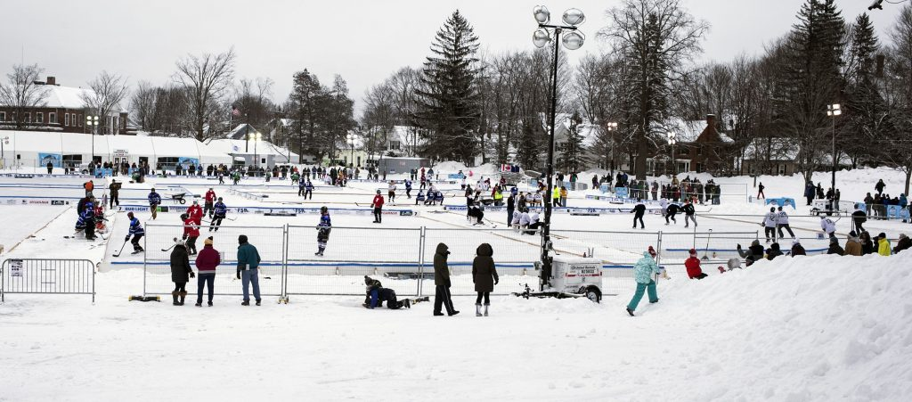 The scene at the Black Ice Pond Hockey Tournament at White Park Saturday. GEOFF FORESTER