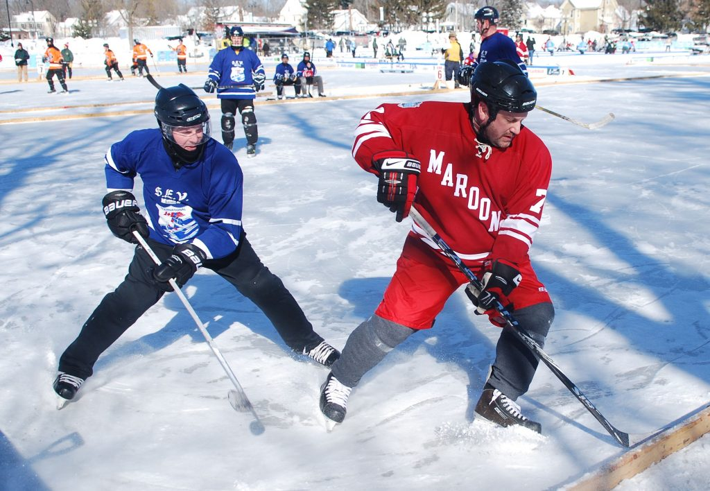 Concord's Black Ice Pond Hockey tournament kicked off Friday, Feb. 10, 2017, and continues through the weekend at White Park. (NICK STOICO / Monitor staff)