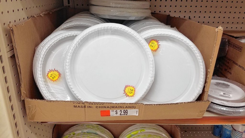 If you plan on serving a lot of food at your Super Bowl party -- which hopefully you are -- you'll need plenty of plates. Luckily, the Job Lot has so many options for paper or plastic plates, bowls, cups and utensils.  JON BODELL / Insider staff
