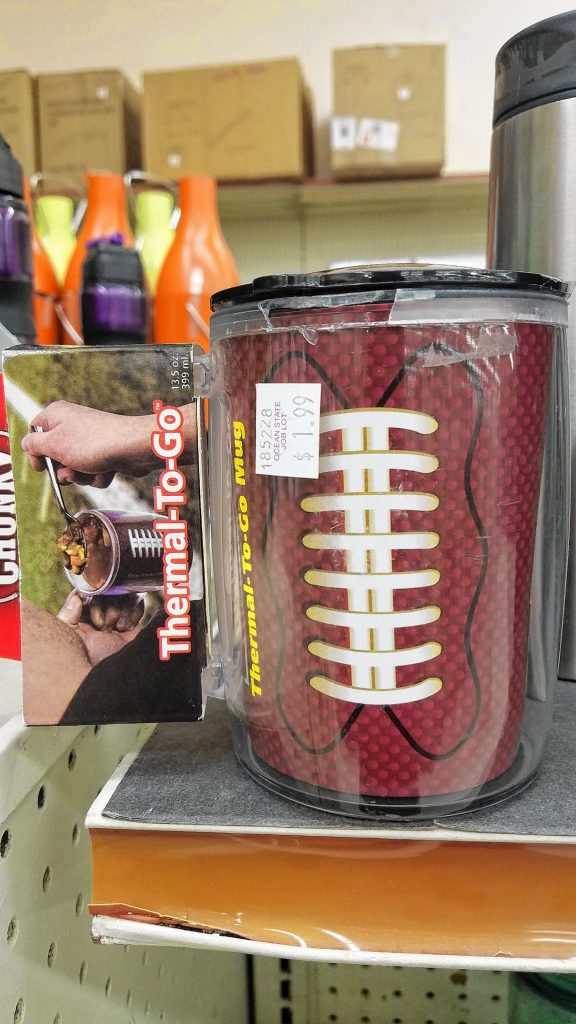 If you're going to somebody else's party, this football-looking thermal to-go mug will ensure you're the coolest one showing up, your own cup of chili in hand and everything.  JON BODELL / Insider staff