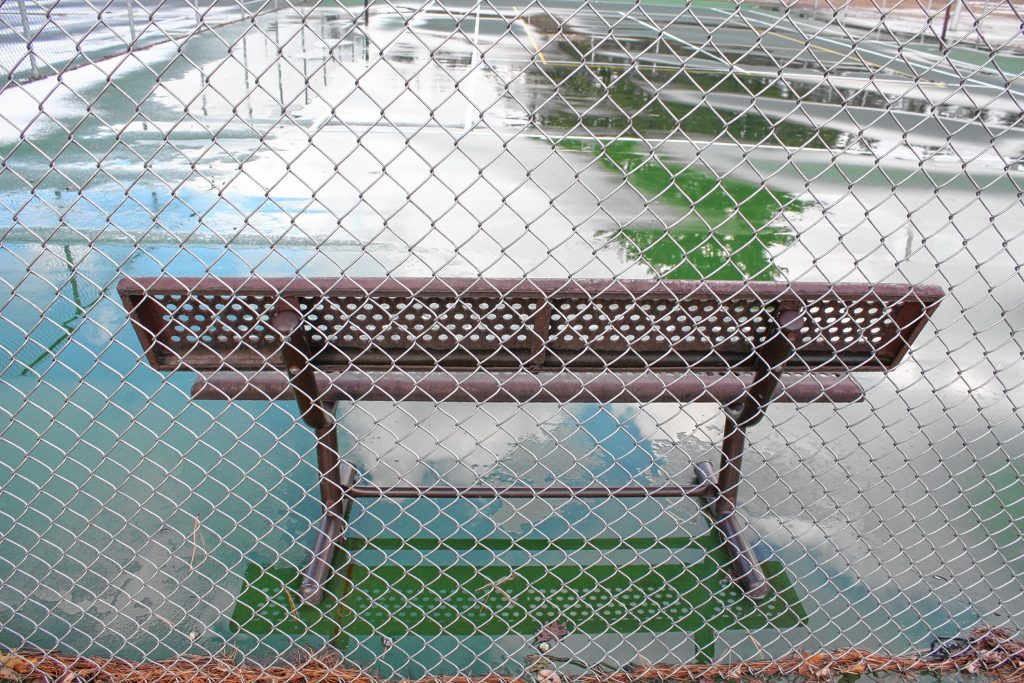 This good-sized park offers a bench for spectators to watch some tennis. Unfortunately, the tennis court and the adjacent basketball court are chained and locked up for the winter.  JON BODELL / Insider staff