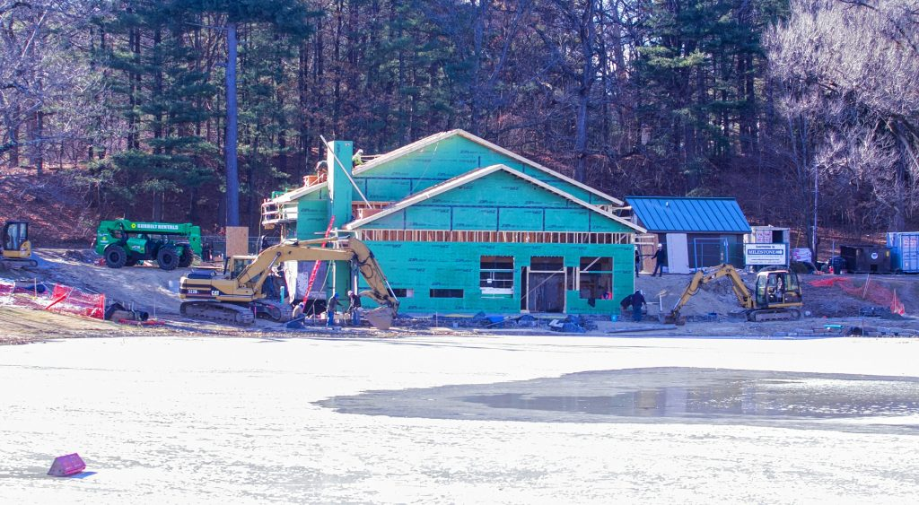 The new White Park skate house is making progress as the roof is being put up and walls are up at the site of the old skate house. GEOFF FORESTER