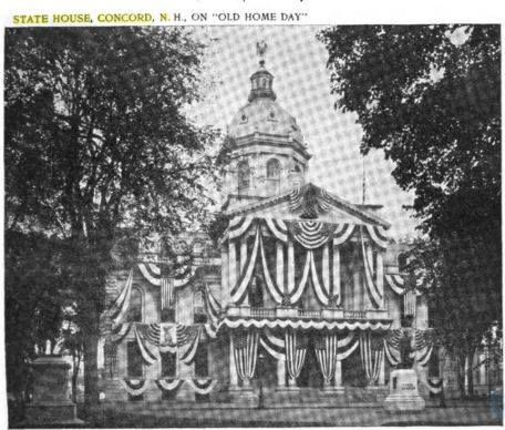 The State House, all stately decorated for the first-ever Old Home Week. Courtesy of N.H. Historical Society