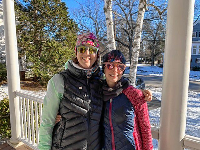 Traci Komorek (left), owner of Fresh Roots Nutrition, and Laura Jones, owner of Whole Health Concord, are running the Boston Marathon to benefit Boston Children's Hospital.  Courtesy of Traci Komorek