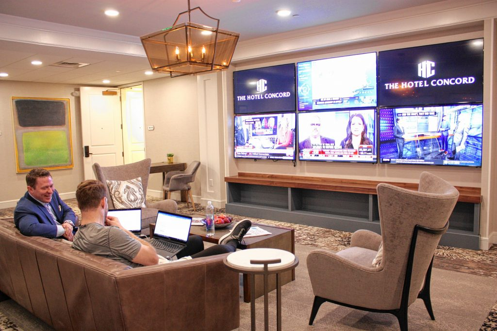The Hotel Concord features two executive lounges where guests can get some work done or just hang out. This one has several TVs, while the other one is meant for quiet study and doesn't have TVs. JON BODELL / Insider staff